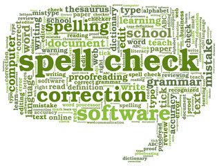 Conceptual tag cloud containing words related to spell checking