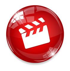 movie clapper icon / button