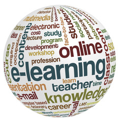 Vector of tag cloud with words related to distance learning