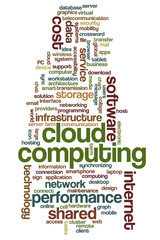Conceptual tag cloud containing words related to cloud computing