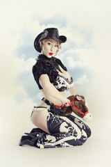 Beautiful young blond woman pin-up  in the image of the cowboy