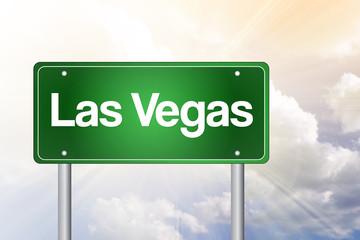 Las Vegas Green Road Sign, Travel Concept