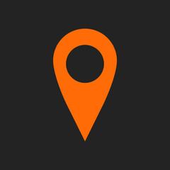 Orange geo pin as logo on black