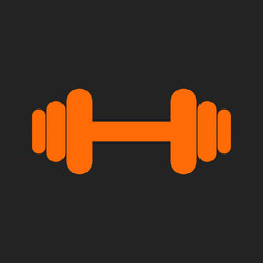 Orange dumbbell as logo  on black