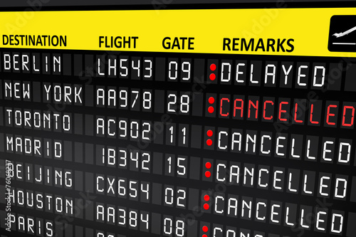 Flight delayed or cancelled display panel in airport - 76068277