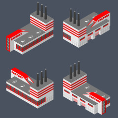 Factory in isometric projection.