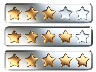 Golden five star rating system.