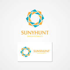Vector logo with abstract sun