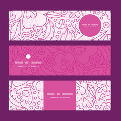 Vector pink flowers lineart horizontal banners set pattern