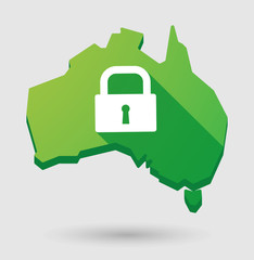 Green Australia map shape icon with a lock pad