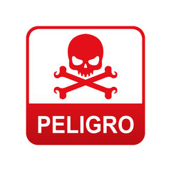 Etiqueta app abajo rojo PELIGRO