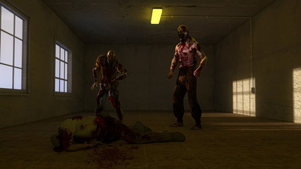 Zombies and old room