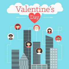 Vector St. Valentine's day greeting card in flat style