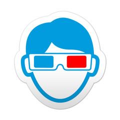 Pegatina simbolo espectador 3D