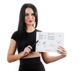 Businesswoman showing financial reports, isolated background