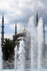 Landscape of Blue Mosque behind the fountain
