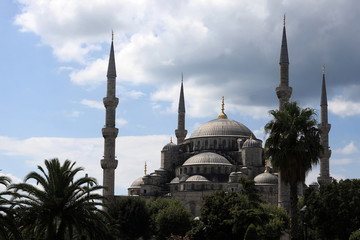 View of Blue Mosque on the sky background