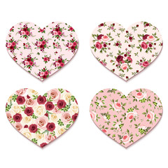 Valentine's day hearts with roses patterns. Vector eps_10.
