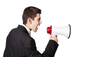 businessman shouting through megaphones