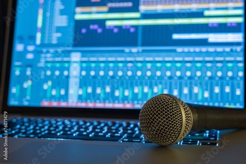Leinwanddruck Bild Home Recording Studio
