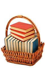 books in a basket on the isolated white background