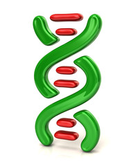 Illustration of green and red dna