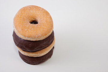 Column of homemade donuts