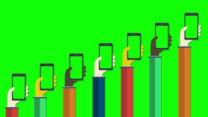 Smartphones in hands with green screens. Mobile apps concept.