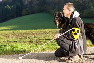 Aufmerksamer Blindenhund
