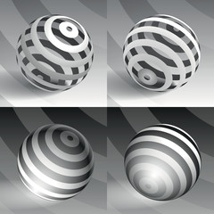 3d vector sphere striped volume form, abstract form