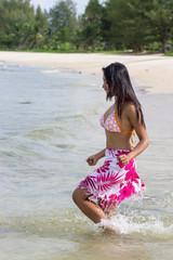 cheerful girl in the sea