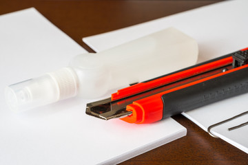 Stationery on the desk in the office