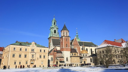 Tourists in the territory of the Wawel castle, Krakow, Poland