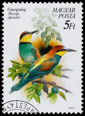 Stamp printed in Hungary shows the European bee-eater