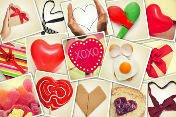 collage of snapshots of hearts and heart-shaped things shot by m