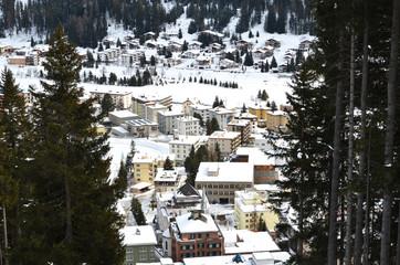 Winter view of Davos, famous Swiss skiing resort