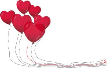 Rote Herz-Luftballons, Vektor