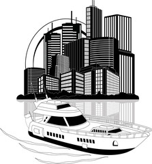 Luxury yacht and skyscrapers