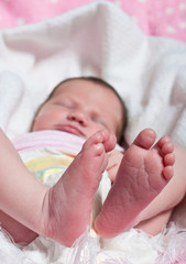 Feet of a newborn baby