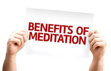 Benefits of Meditation card isolated on white background