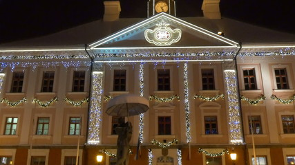 The beautiful town hall with lights of Estonia