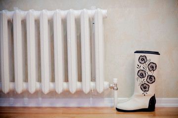 pair of woolen felt boots on white background