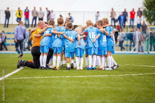 Football match for children. shout team, soccer game
