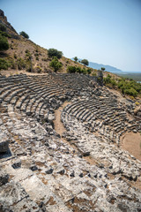 view of amphitheater ruins in Kaunos ancient city (Turkey)