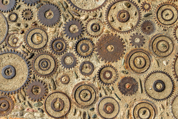 Pavement texture with gears and bricks in Montjuic, Barcelona, S