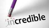 Eraser changing the word Incredible for Credible poster