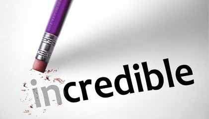 Eraser changing the word Incredible for Credible