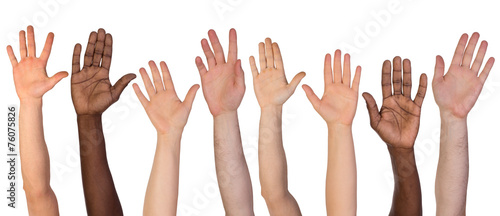 Many hands up isolated on white background - 76075826