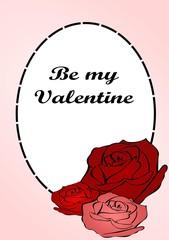 Открытка рамка розы к дню святого валентина