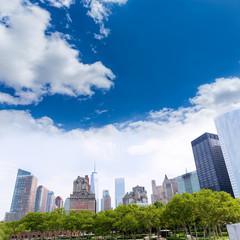 Lower Manhattan New York skyline Battery Park